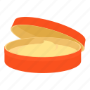 cartoon, container, cream, object, ointment, orange, package icon