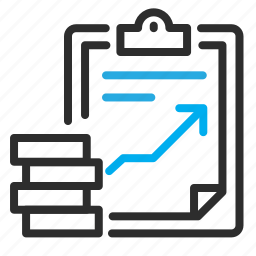 clipboard, coins, finance, growth icon