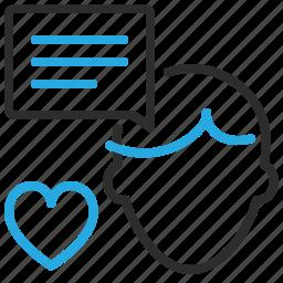 chat, human, love, man, service icon