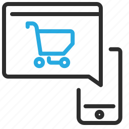 cart, mobile, online, phone, shopping icon