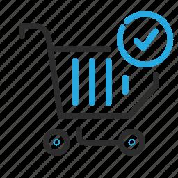 cart, checkmark, ecommerce, shopping icon