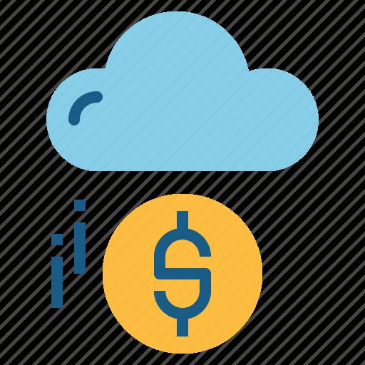 cloud, cloud computing, coin, money icon