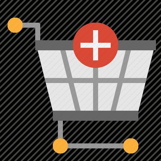 add, basket, cart, shopping icon