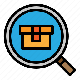 delivery, logistics, product, search icon