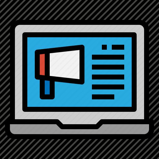 advertising, computer, marketing, megaphone icon