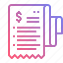 bill, cash, invoice, receipt icon