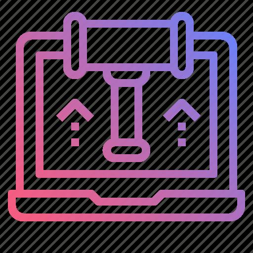 auction, laptop, online, shop icon