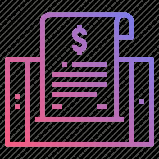bill, document, invoice, receipt icon