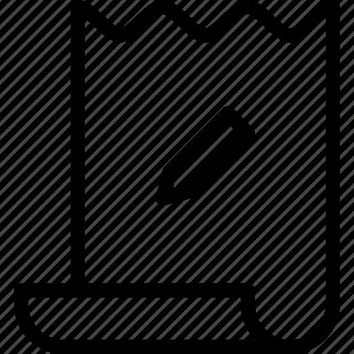 edit, pencil, receipt, tool icon