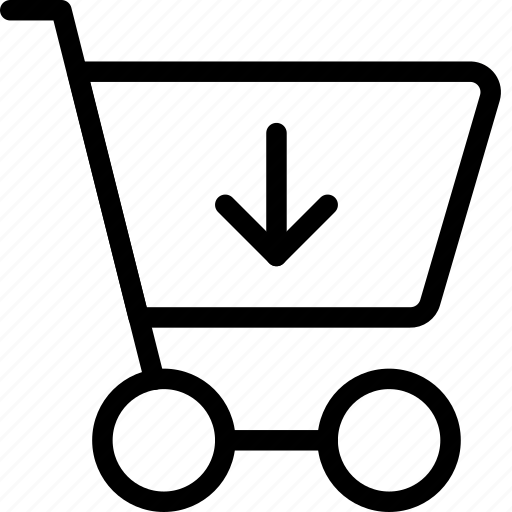 arrow, cart, direction, down, download, ecommerce, shoppingcart icon