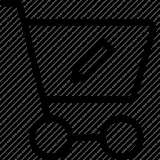 cart, ecommerce, edit, pen, pencil, shoppingcart, write icon