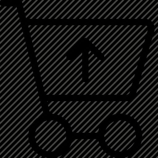 cart, ecommerce, shoppingcart, up, upload icon