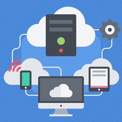cloud, computing, connect, process data, remote servers, server, sync icon