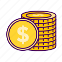 coins, currency, dollar, ecommerce, finance icon