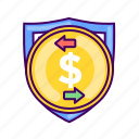 coin, dollar, finance, payment, safe, secure, security icon