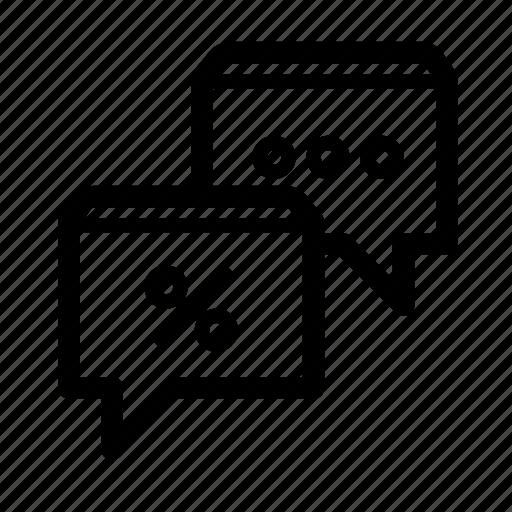 bubble, chat, communication, dialog, discount, sale, speech icon