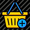 add, basket, buy, plus icon