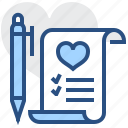 favourite, heart, list, pen, pencil, scroll, wishlist icon