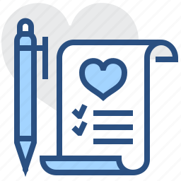 favourite, heart, list, pen, pencil, scroll, wishlist icon