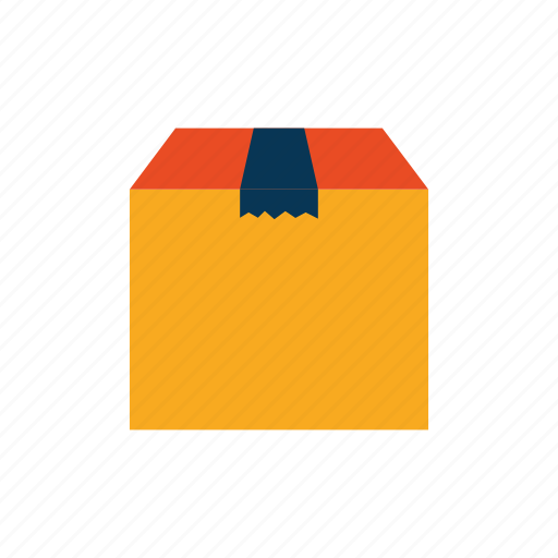 cardboard, ecommerce, package, yellow icon