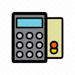bill, check, credit card, payment, post, terminal icon