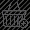 add, box, cart, commerce, e, marketing, retail icon