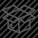 box, cargo, commerce, e, goods, marketing, open icon