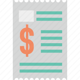 bill, copy, duplicate, paper, print, reciept, sheet, text icon