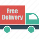 free delivery, logistics, transport, transportation, truck, van, vehicle icon