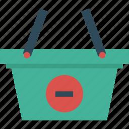 bag, basket, cart, delete, ecommerce, minus, remove, shopping icon