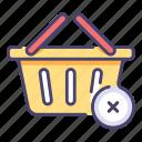 basket, cancel, cart, delete, empty, store