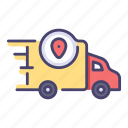 delivery, fast, location, map, service, transport, transportation icon