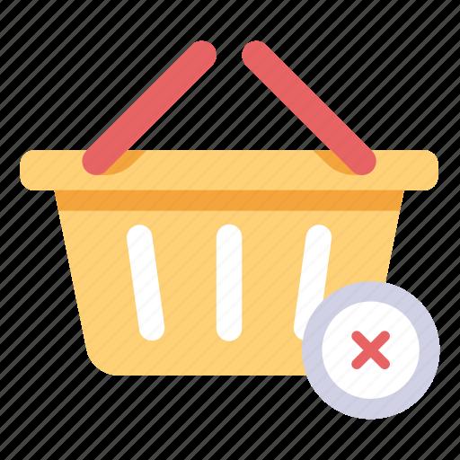 basket, cancel, cart, delete, empty, store icon