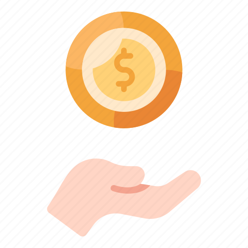 Cash, coin, currency, donation, finance, hand, money icon - Download on Iconfinder