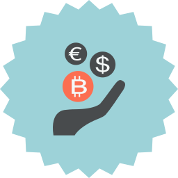 bitcoin, coins, dollar, ecommerce, euro, hand, money icon