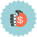 coin, dollar, ecommerce, hand, hand holding coin, hand with dollar, sign