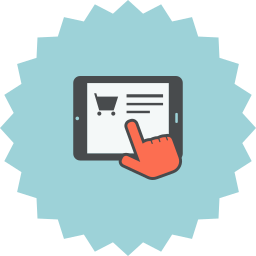 cart, e-commerce, ecommerce, hand, online shopping, pointer, tablet icon
