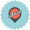 advertising, ecommerce, location, map pointer, pin, pointer, sale icon