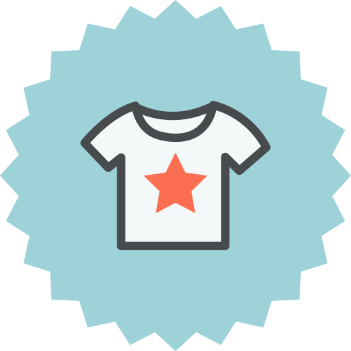 cloth, clothes, clothing, shirt, star, t-shirt, tshirt icon