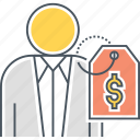 client cost, employee cost, price tag icon