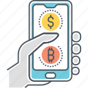 bitcoin app, blockchain app, cryptocurrency app, digital currency payment icon