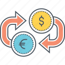 currency exchange, eur to usd, money exchange, usd to eur icon