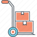 hand trolley, hand truck, push cart, push trolley icon