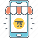 commerce, mobile, mobile commerce, mobile shopping, mobile shopping app, online shopping icon