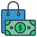 bag, shopping, money, dollar, payment icon