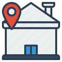 ecommerce, house, pin, location, home icon