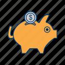 bank, banking, money, pig, piggy, save, savings icon