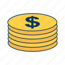 buying, coins, economy, funds, money, stack, stacked icon