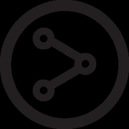 distribute, linecon, round, share icon