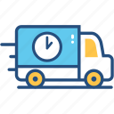 delivery, package, service, shipping, time, transport, truck icon